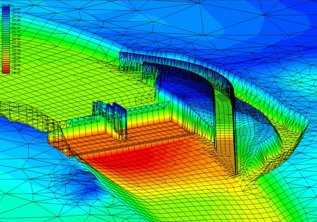 Ausschnitt aus einem Modell für die hydraulische 2D-Berechnung