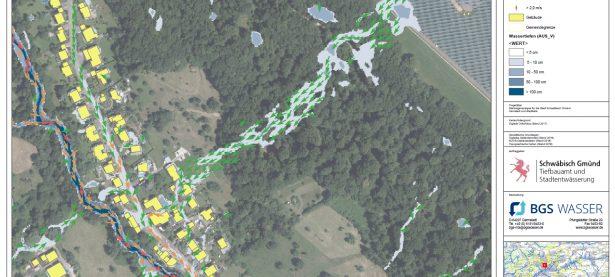 Starkregengefahrenkarte mit Fliessgeschwindigkeiten